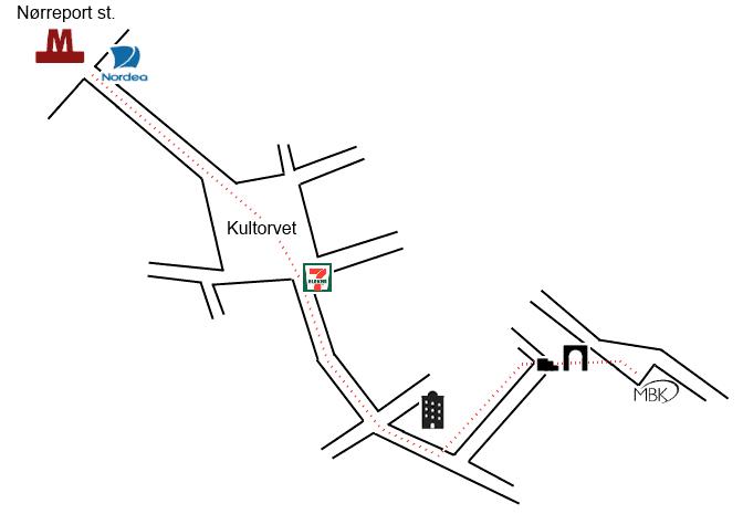 Vejviser fra Nørreport Station til MBK A/S